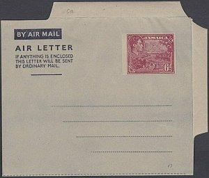 JAMAICA GVI 6d aerogramme unused - 1953 issue - 3 line warning..............K476