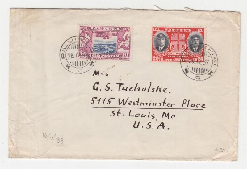 LITHUANIA, 1937 cover, Air 20s. & 40s., Pilviskiai to St. Louis, USA