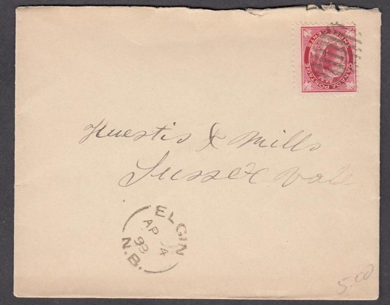 NEW BRUNSWICK SPLIT RING TOWN CANCEL COVER ELGIN
