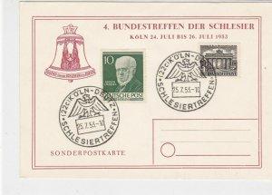 Berlin 1953 Koln Eagle Slogan Cancels Special Stamps Card Ref 26082