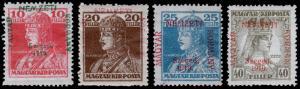Hungary - Serbian Occupation Scott 11N16-11N19 (1919) Mint H F-VF, CV $36.60 B