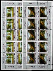 HERRICKSTAMP LATVIA Sc.# 484-85 EUROPA 1999 Stamp M/S of 10 (Folded)