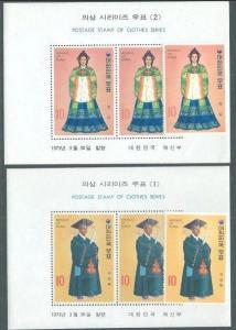 KOREA 1973 Costumes set + 2 souvenir sheets MNH............................60946