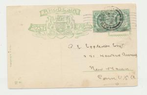 RHODESIA CARD TO USA 1906, KIMBERLEY TO NEW HAVEN, VICTORIA FALLS 2x½d RATE