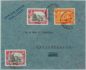 90553 -  ADEN - POSTAL HISTORY -   AIRMAIL COVER  to SWEDEN ! 1946