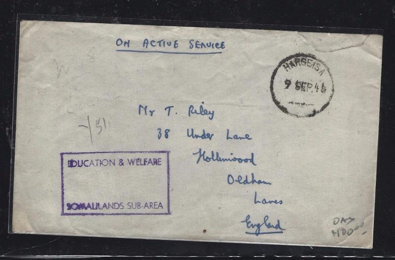 SOMALILAND COVER (P0312B)  1946  OAS  EDUCATION AND WELFARE  TO ENGLAND