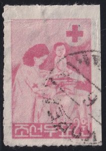KOREA STAMP 1957 Red Cross 2w Red used stamp