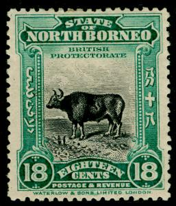 NORTH BORNEO SG175, 18c blue-green, M MINT. Cat £160.