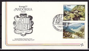 Andorra, Sp. Scott cat. 98-99. Europa Issue. Mountains. First day cover. ^