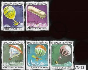 VIET NAM VN-23 A SET OF (5) USED AIR BALLOON STAMPS