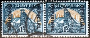 South Africa 1944 1 1/2d Blue-Green & Yellow-Buff SG033 Fine Used (2)