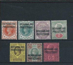 BECHUANALAND 1897-1902 SET OF SEVEN MM SG 59/65 CAT £75