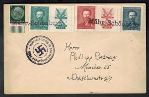 1938 Mahr Schonberg Germany Sudetenland Provisional Cover to Munich