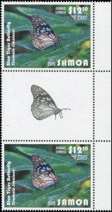 Samoa 2015 Sc C12 Gutter Pair Blue Tiger Butterfly CV $19