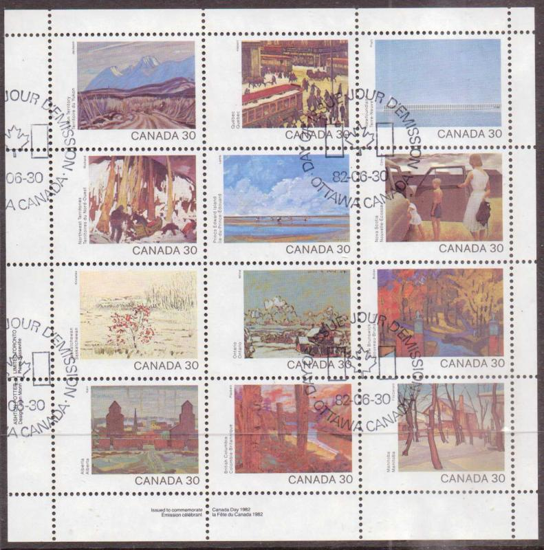Canada    #966a  Used Pane of 12 (1982)  c.v. $9.50