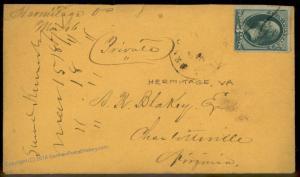 Virginia 1872 Hermitage VA Cancel DPO Helbock R5 Cover 92344
