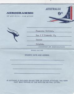 Australia 1966 9c Aerogramme to Esneux Belgium VGC