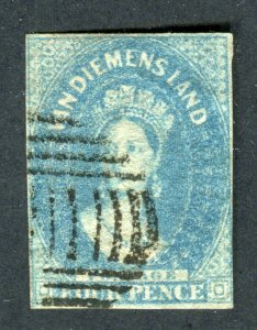 Tasmania 1857. 4d pale blue. Used. Chalon. Imperf. 4 Margins. SG36.