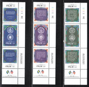 Palau # 155-63 (157a, 160a, 163a) with Label & Plate ~ Mint, NH