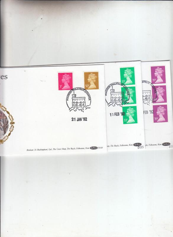 1992   BENHAM FDC'S D183, D185 AND D186