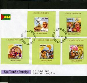 Sao Tome & Principe 2010 Pope John Paul II Deluxe s/s in official FDC