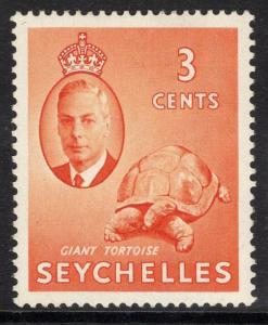 SEYCHELLES SG159b 1952 3c ORANGE ERROR ST.EDWARDS CROWN MTD MINT