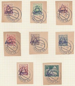 POLAND 1919 Krakow local overprint postage dues - 8 used on pieces..........A603