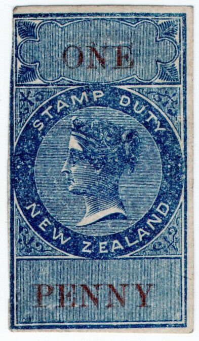 (I.B) New Zealand Revenue : Stamp Duty 1d (reversed watermark)