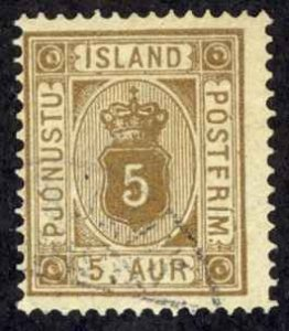 Iceland Sc# O5 Used (a) 1876-1895 5a Official