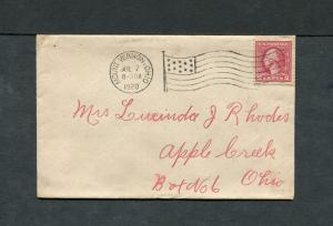 Postal History - Mount Vernon OH 1920 American Flag AMF-A14 Cancel Cover B0585