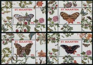 HERRICKSTAMP NEW ISSUES ST. MARTIN Sc.# 111-14 Butterflies 2016 II S/S I - IV