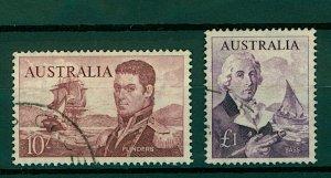 Australia 1963 10/- Flinders sg358 and £1 Bass sg359 (2v) FU Stamps