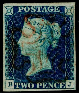 SG5, 2d blue, FINE USED. Cat £1200. RED MX. 4 MARGINS. BJ