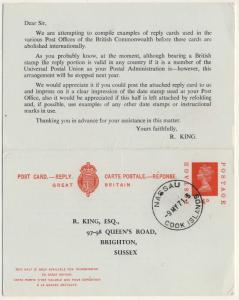 COOK ISLANDS - 1971 - NASSAU CDS ON 4d MACHIN REPLY-CARD TO ENGLAND - scarce