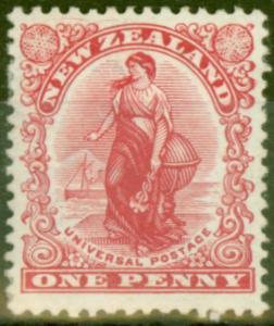 New Zealand 1908 1d Carmine SG386 Fine Mtd Mint