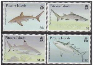 PITCAIRN ISLANDS 4 SETS MARINE LIFE SHARKS X1
