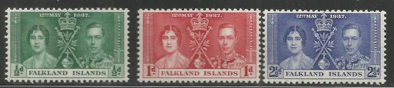 FALKLAND ISLANDS  81-83  MNH,  CORONATION ISSUE