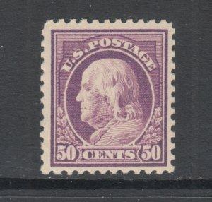 US Sc 517 MNH. 1917 50c red violet Franklin, Flat Plate Printing, F-VF