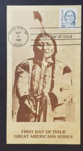 1989 Rapid City SD Sitting Bull Photograph & Stamp First Day RPPC Postcard Cover