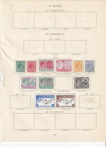 ST KITTS-NEVIS 2 CROWN ALBUM PAGES  VALUES TO £1 MOUNTED MINT