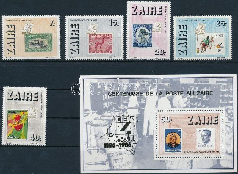Congo (Kinshasa) Stamp Centenary of Post + block MNH 1986 WS221611