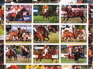 Kyrgyzstan 2000 POLO WORLD CUP Sheetlet (9) Perforated MNH