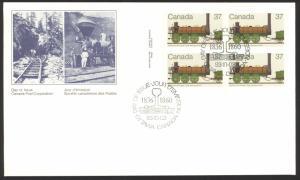 Canada Sc# 1001 FDC inscription block 1983 10.03 Locomotives