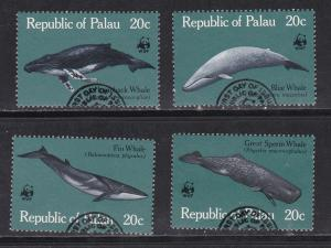 WWF - Palau # 24-27, Whales, Used Set