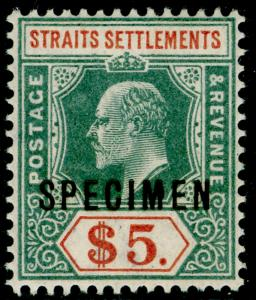 MALAYSIA - Straits Settlements SG121s, $5 green & brn-orange VLH MINT. Cat £260.