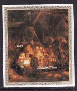 Aitutaki-Sc#428- id7-unusd NH sheet -Christmas-Rembrandt Paintings-1988-