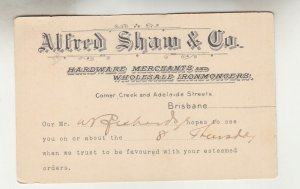 QUEENSLAND, Postal Card PTPO. 1911 1d. Red, ALFRED SHAW & Co, Brisbane to Gympie