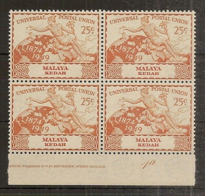 Kedah 1949 25c UPU MNH Block Plate 1a