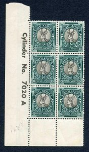 South Africa SG114c 1/2d Grey and Blue Green Cylinder Block U/M