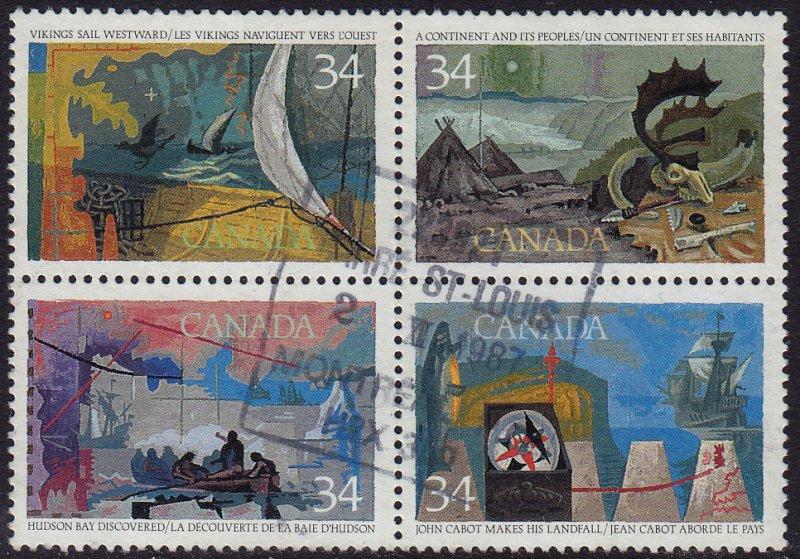 Canada - 1986 - Scott #1107a - used  block of 4 - Exploration